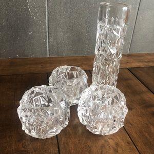 Tiffany & Co Crystal Rock Votives and Bud Vase